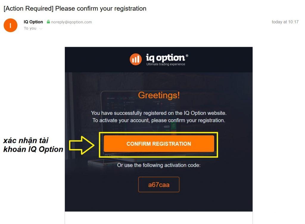 Vào email của bạn để kích hoạt tài khoản IQ Option