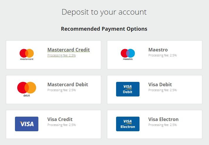 Chọn loại thẻ mà bạn muốn dùng để nạp tiền vào Neteller