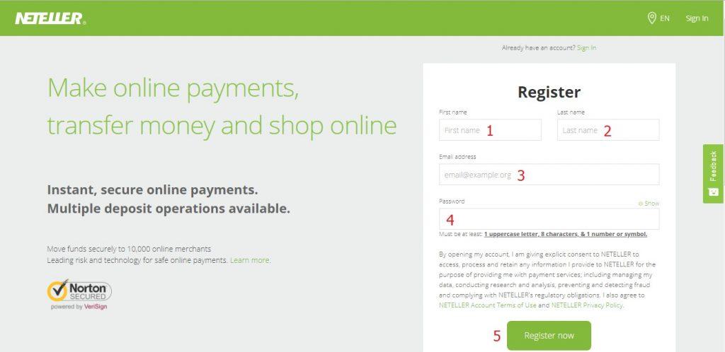 Hướng dẫn đăng ký ví điện tử Neteller