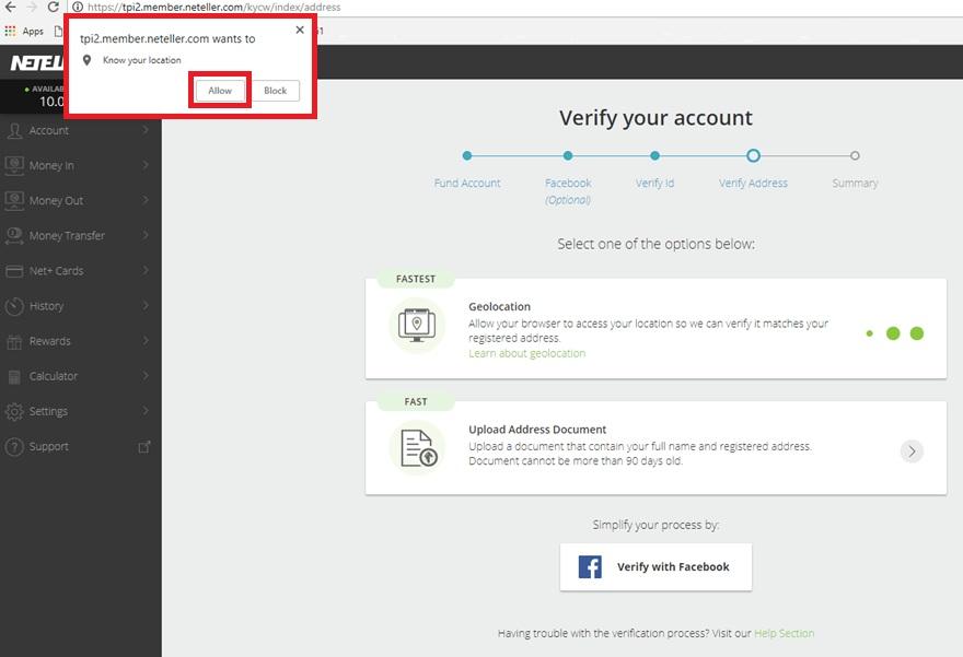 Hướng dẫn xác minh địa chỉ tài khoản ví điện tử Neteller